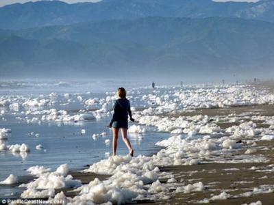 美国加州海岸因海啸出现大量巨大泡沫