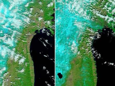 美国卫星拍摄日本仙台附近海啸前后对比图