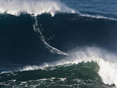 美国探险家在葡萄牙海岸23高水墙上冲浪成功 创吉尼斯世界纪录