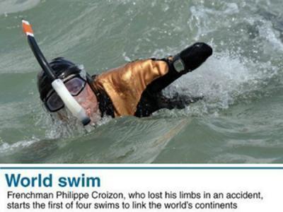 法国一四肢全无男子开始游泳横跨五大洲之旅