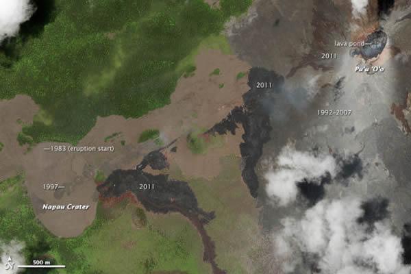 这幅自然色卫星照片拍摄于2011年6月6日