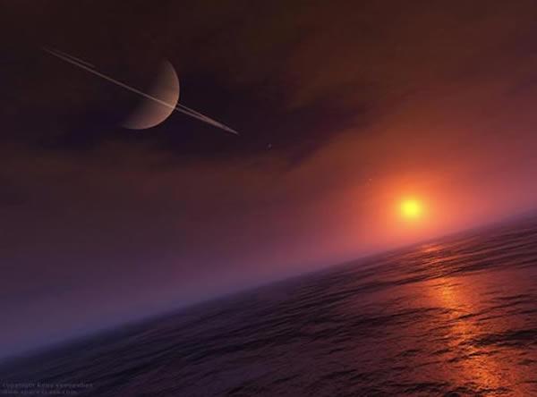 """在土卫六""""泰坦""""上,液态甲烷和乙烷以雨的形式降落,形成巨大的湖泊和海洋,海洋之上漂浮着大量的""""浮冰""""。"""