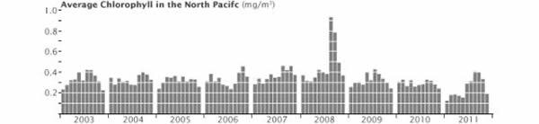 第三幅图显示第二幅图中白色插图框标出的海域中的叶绿素总浓度,从中可以看出叶绿素在2008年的显著增长。