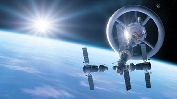 宇宙飞船与人造重力场空间站对接的情景