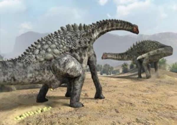 葡萄园龙(Ampelosaurus)产蛋场景复原