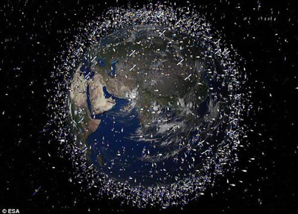 地球被人类制造的大量太空垃圾所包围