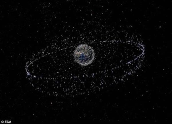 大约有70%的太空垃圾在低地球轨道,向外延伸至1250英里的距离。