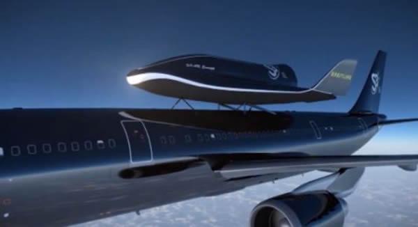 艺术概念图,展示了空客A300搭载的空天飞机