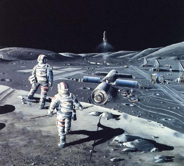 俄罗斯科学家设想登月时的情景,地面基地的造型酷似早期空间站