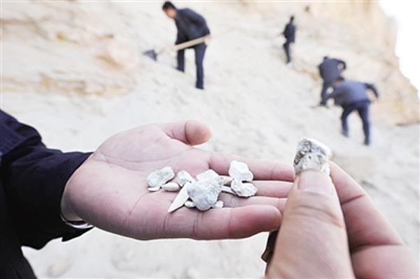 4月9日,稽查人员在查看盗洞周围的一些古生物化石