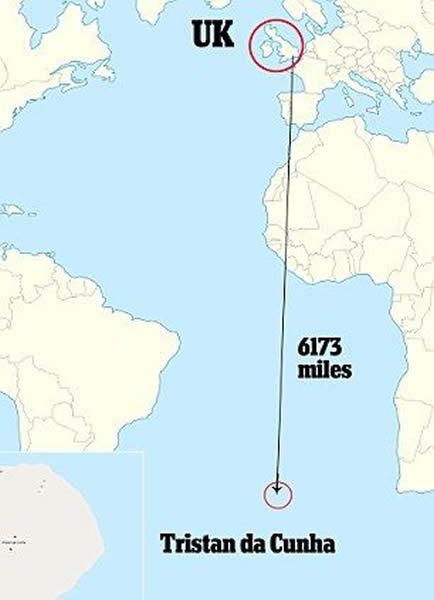 特里斯坦-达库尼亚群岛是英国的海外领土,距离英国本土6173英里(约合1万公里)