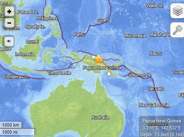 巴布亚新几内亚发生6.8级地震