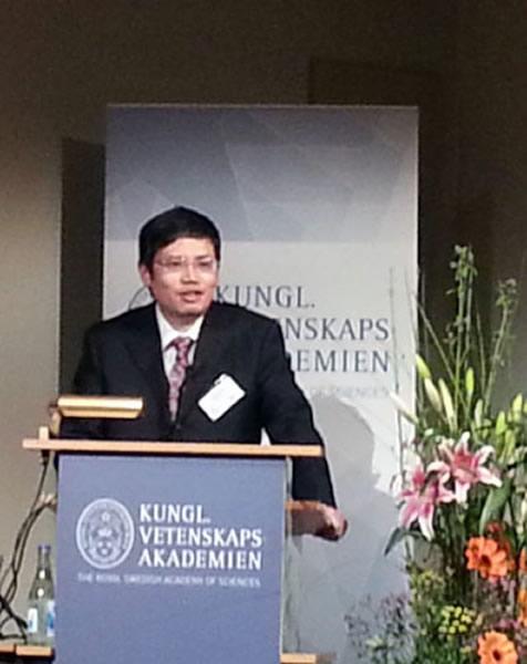 中国古鱼类学家朱敏在瑞典皇家科学院作报告