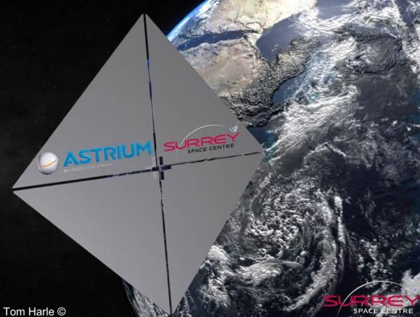 """英国萨里大学的科学家发明了一种依附在""""自杀性""""迷你卫星上的太空帆,发射入太空后能够依附在漂浮的太空残骸上,拖拽残骸至地球的大气层,随后残骸和卫星都会烧毁。"""