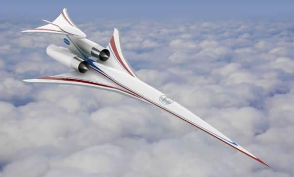 艺术概念图,展示了飞行中的波音超音速客机