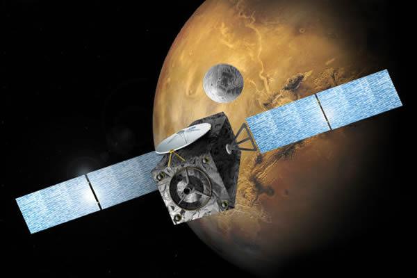 计划中的欧洲2016年火星探测项目,可以看到从轨道器上释放出一枚着陆器正飞向火星