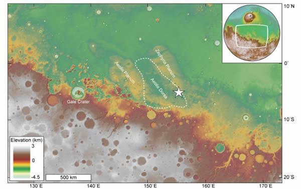 宏观地图,展示此次发现的古代冲积三角洲地形(白色五角星)在火星Aeolis Dorsa地区(虚线圈出)的位置。这一地区恰好位于遍布陨石坑,地形较高的火星南部地区