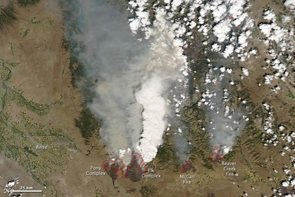 2013年8月上旬,闪电在爱达荷州中部地区引发了四起大型野火