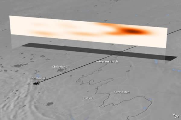 卫星照片显示一颗火流星在俄罗斯车里雅宾斯克上空爆炸后产生的尘羽