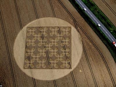 英国汉普郡出现有史以来最复杂的麦田怪圈