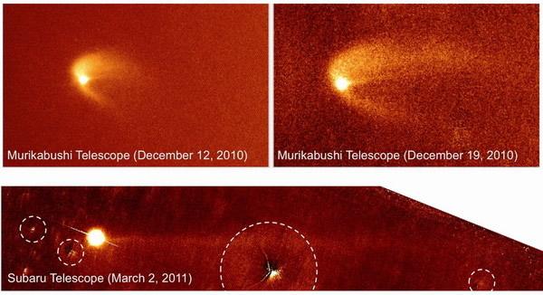 小行星Scheila被一颗体积更小的小行星偷袭撞击
