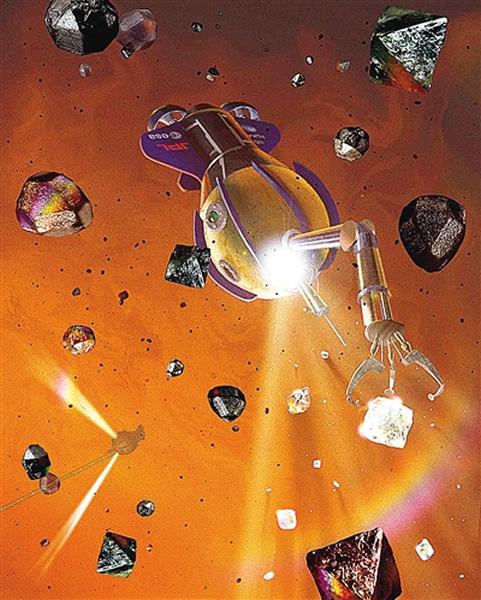 图为《外星海洋》中的插图,显示机器人手伸出来抓住钻石,收集并运回地球。