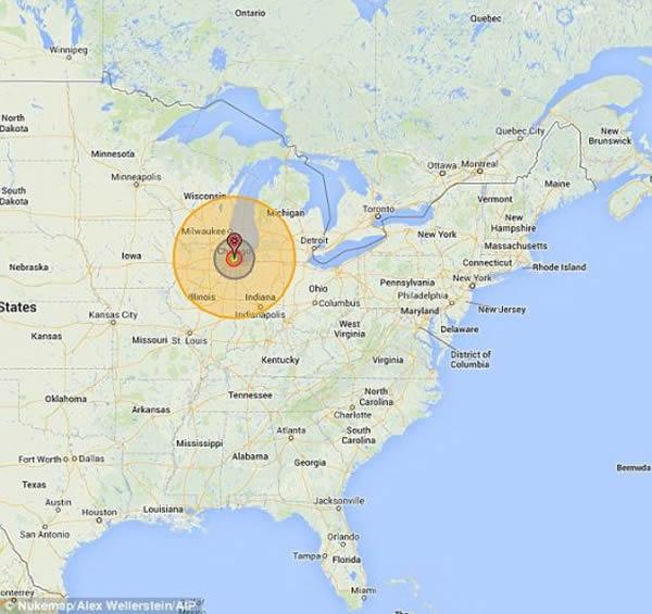 这颗小行星的爆炸能量将会高达2500兆吨,足以对10万平方英里(25.90平方公里)范围内造成严重破坏