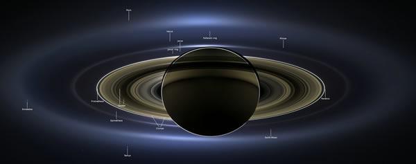 美国卡西尼号飞船拍土星周围太阳系