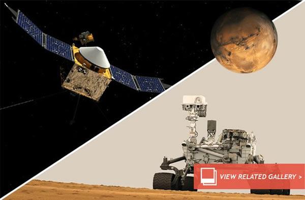 美国宇航局到目前为止组建了阵容庞大的火星探测器群,其中一些在失效后结束了任务,目前在轨运行的火星探测器和地面漫游者将构成立体探测网络,探索火星过去数十亿年前的奥