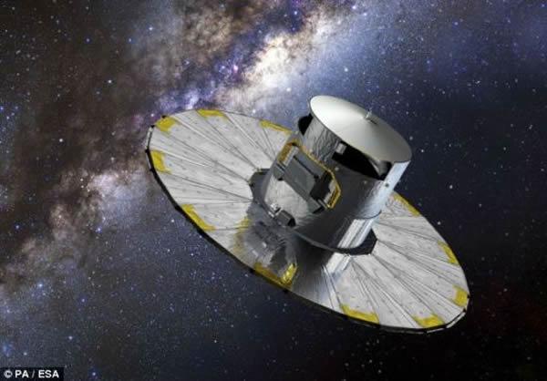 """艺术概念图,展示了欧洲航天局的""""盖亚""""号探测器。这颗探测器耗资20亿英镑(约合32亿美元),将对10亿多颗恒星进行观测。进入太空之后,""""盖亚""""号将对银河系内的数"""
