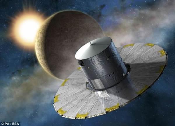 """""""盖亚""""号将进入距地面150万公里的拉格朗日L2点。在这个地球处在它与太阳之间的有力位置,""""盖亚""""号能够对更广阔的太空区域进行观测"""
