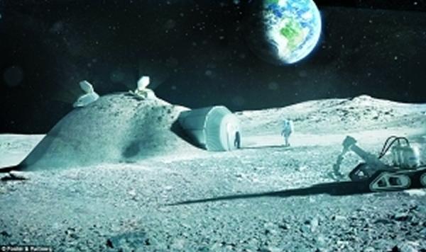 在月球上建造的圆顶建筑设想图