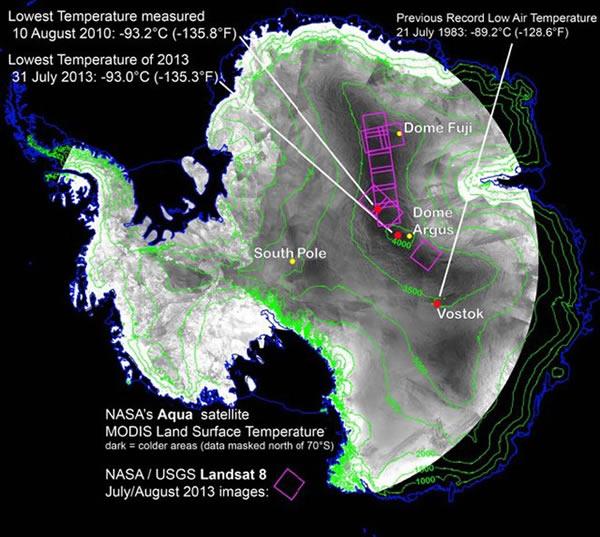 发现地球上最冷地方:南极洲东部山脊零下93.2摄氏度