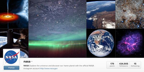 "NASA的Instagram主页有超过40万名""粉丝"""