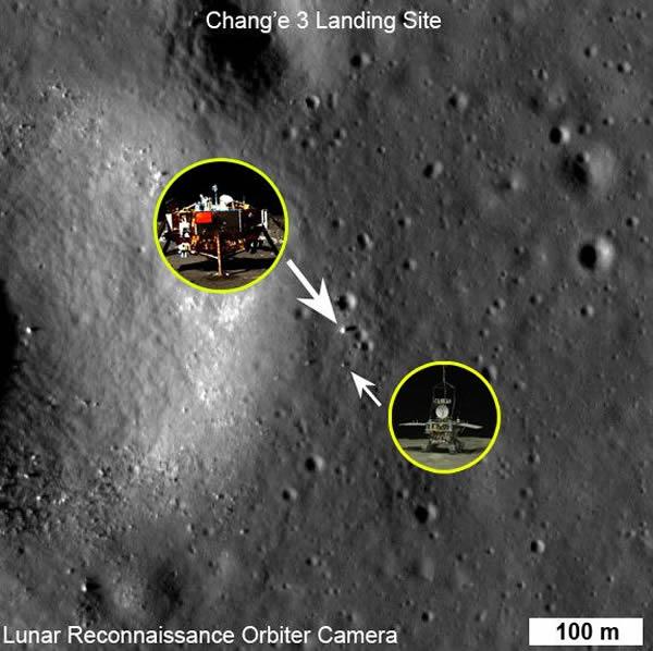 图中白色的亮点为月球勘测轨道探测器拍摄嫦娥三号登陆器和玉兔月面巡视器