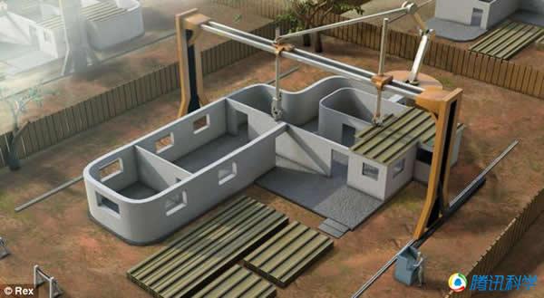 """可移动的""""龙门吊""""和喷嘴是建造月球房屋的关键部分。"""