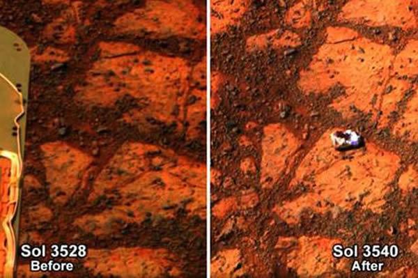 """在火星车的行进路径上出现中空的""""面包圈""""岩石"""