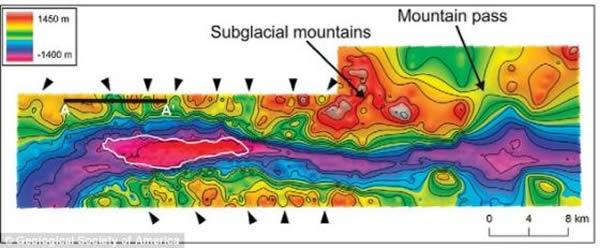 冰下雷达图像有助于研究人员查明这个巨大山谷的位置。