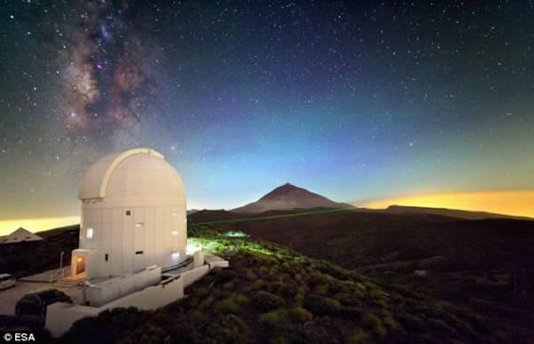 """欧洲航天局的光学地面站,美国宇航局的""""月球激光通讯演示""""(以下简称LLCD)实验采用的月球激光通讯光学地面系统就座落于此"""