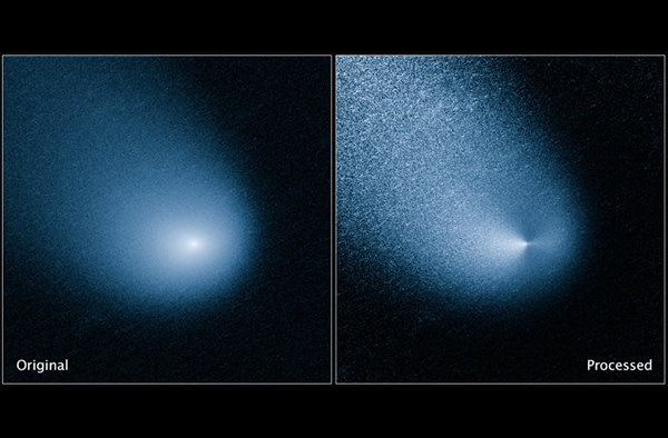 Hubble image of comet C/2013 A1 (Siding Spring), before and after processing. Cr