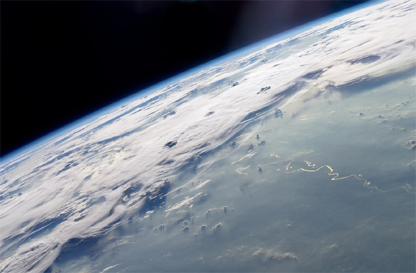 The stormy skies over Brazil as seen by astronauts on board the International Sp
