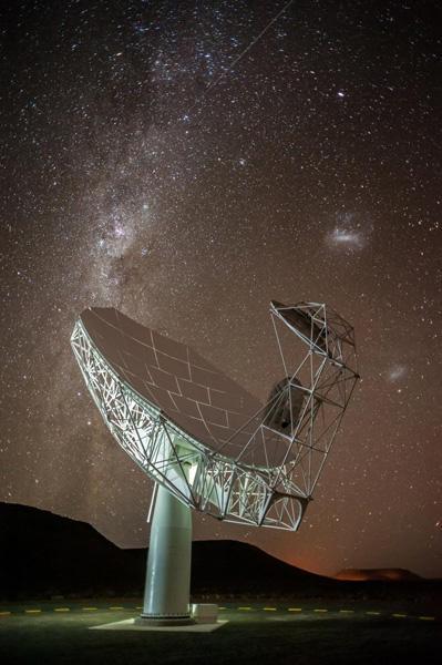 图中显示的是MeerKAT望远镜阵射电天线的照片,背景是银河和麦哲伦星云