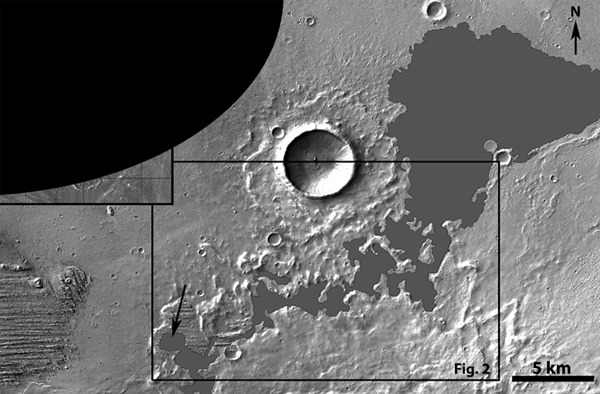 Location of flow (shown in gray). Yardang material seen at lower left. Source ar