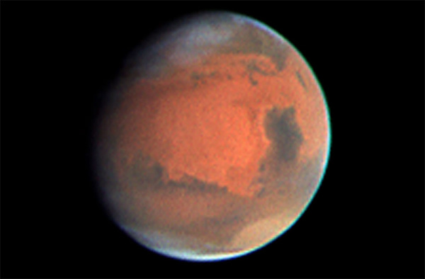 Mars as observed by the Hubble Space Telescope in 1997.