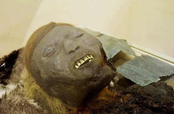 西伯利亚发现戴着铜面孔的千年木乃伊尸体,考古学家在尸体旁还发现波斯碗,证明西伯利亚曾是古代商贸重地。