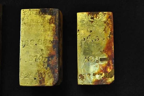 奥德赛海洋勘探公司在沉船遗址发现的金条