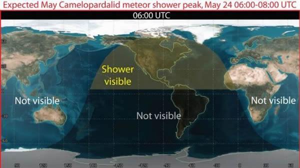 世界地图显示,北美洲是见到这次流星雨的唯一地区。