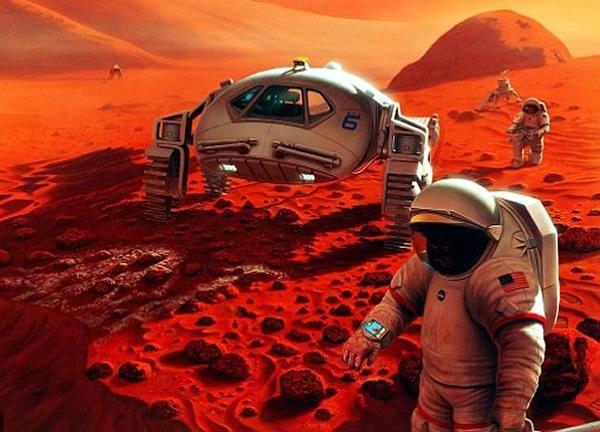 NASA计划2035年派人登陆火星。图为登陆火星模拟图。