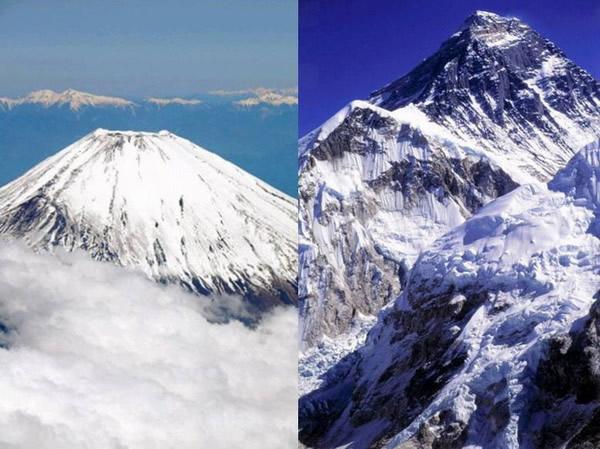 """日本最高峰富士山和世界最高峰珠穆朗玛峰结为""""姐妹山"""""""