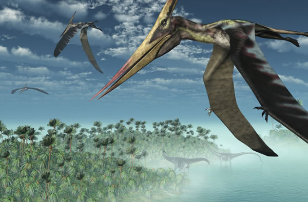 Three Pteranodon Longicepts fly over a misty prehistoric seascape, with two dipl